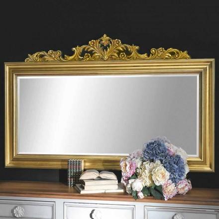 Espelho de parede feito à mão em madeira e friso de resina produzido na Itália Matteo