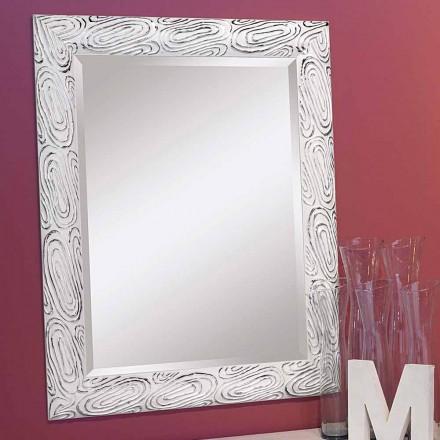 Espelho de parede em ouro, branco e prata em madeira, Eugenio, produzido na Itália