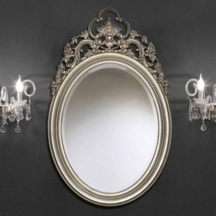 Espelho de parede oval feito à mão de prata / ouro, produzido na Itália, Giorgio