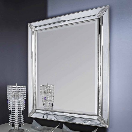 Espelho de parede prateado / dourado em madeira, totalmente feito à mão na Itália, Samuele