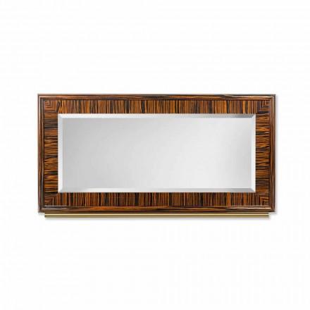 Espelho de parede Ada 1, feito de ébano brilhante e metal, com bordas chanfradas
