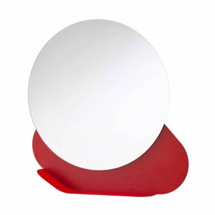 Espelho de Parede com Prateleira de Metal em Várias Cores Fabricado na Itália - Hera