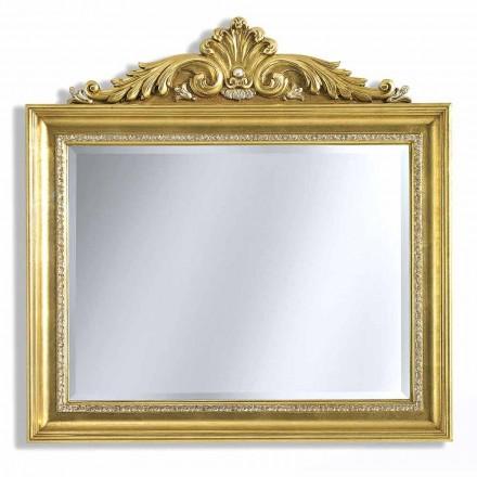 Espelho de parede em friso de resina e madeira, feito à mão na Itália, Ivan