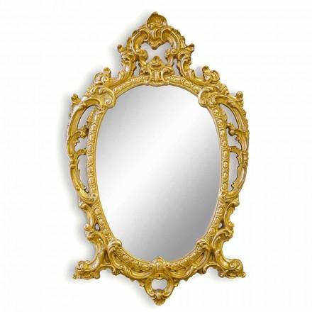 Espelho de parede oval feito à mão de madeira, produzido na Itália, Roberto