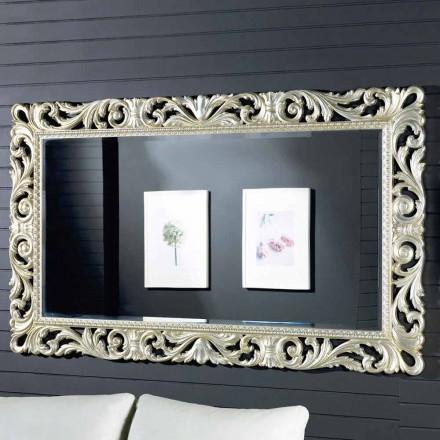 Espelho de parede design moderno em madeira ayous, feita na Itália, Nicola