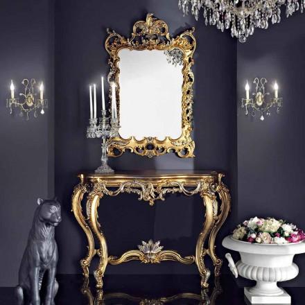 Espelho de parede de madeira e console com tampo de mesa mdf made in Italy Andrea