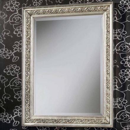 Espelho de parede moderno em madeira, completamente feito à mão na Itália, Piero