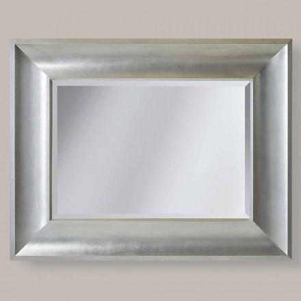 Espelho de parede de ouro / prata em madeira ayous, fabricado na Itália, Silvio