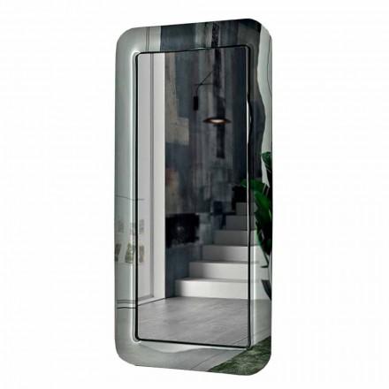 Espelho longo retangular com moldura de efeito de cristal feito na Itália - loop