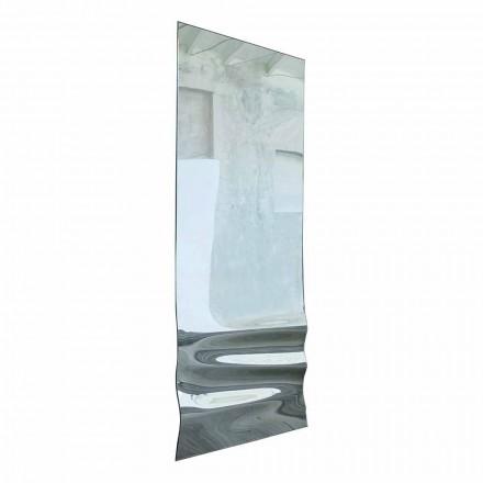 Espelho grande com acabamento em cristal ondulado fabricado na Itália - Atenas
