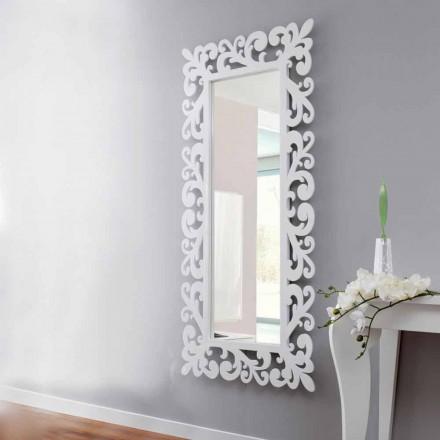 Espelho grande retangular de parede design em madeira branca moderna - Cortese