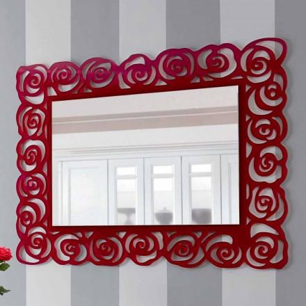 Espelho grande e moderno de parede em plexiglás vermelho - Rosalinda