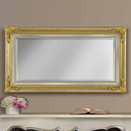 Espelho de parede de madeira moderna feito à mão ayous, feito na Itália, Carlo