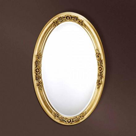 Espelho oval moderno feito à mão de madeira, produzido na Itália, Federico