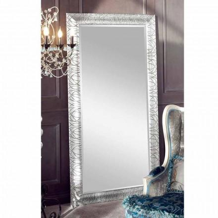 Espelho de parede retangular de madeira de abeto, produzido na Itália, Achille