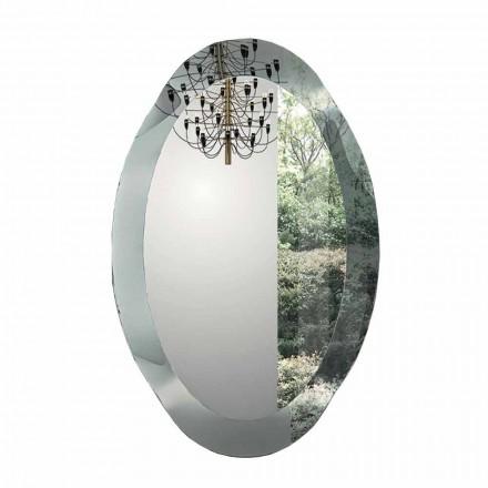 Espelho de parede oval em cristal ondulado feito na Itália - Eclisse