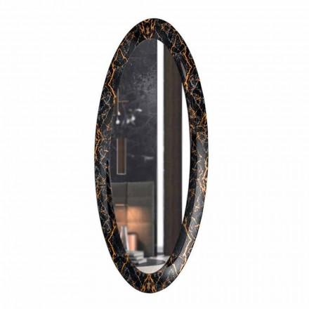 Espelho longo oval de parede com moldura de efeito mármore Made in Italy - Denisse