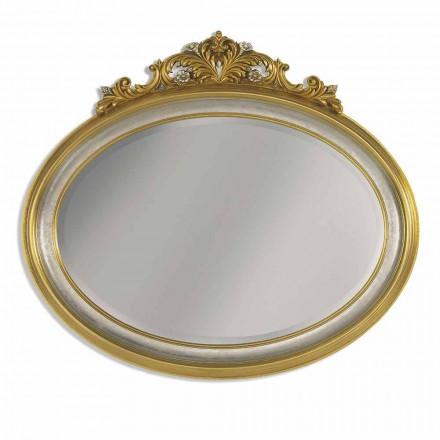 Espelho de parede em resina friso e madeira ayous, fabricada na Itália, Alberto
