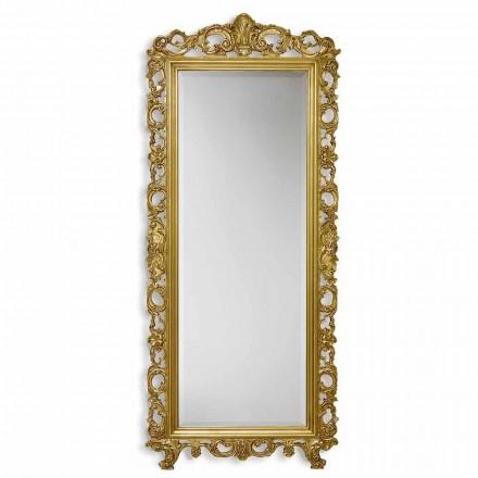 Espelho de parede de ouro / prata em madeira ayous, feito à mão na Itália, Francesco