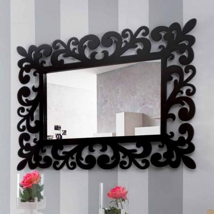 Espelho retangular de parede grande design moderno em madeira preta - Manola
