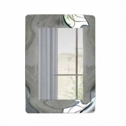 Espelho retangular com moldura de vidro corrugado Made in Italy - Vira