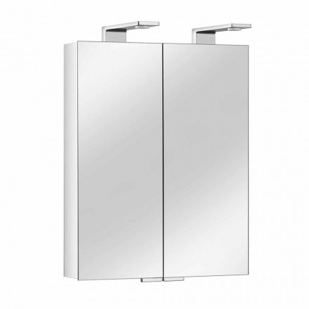 Espelho de 2 portas com recipiente de alumínio prateado e detalhes cromados - Maxi