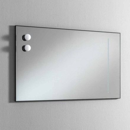 Espelho de banheiro de parede com 2 lâmpadas e moldura preta Made in Italy - moldura