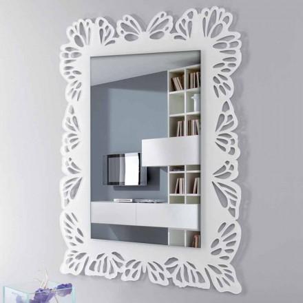 Espelho de parede de plexiglás branco com moldura retangular decorada - Alidifarf