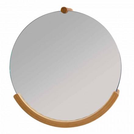Espelho de parede do banheiro de design com moldura de bambu Gorizia