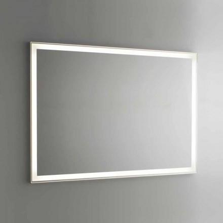 Espelho de banheiro em Imitação de alumínio com luz de fundo Made in Italy - Palau