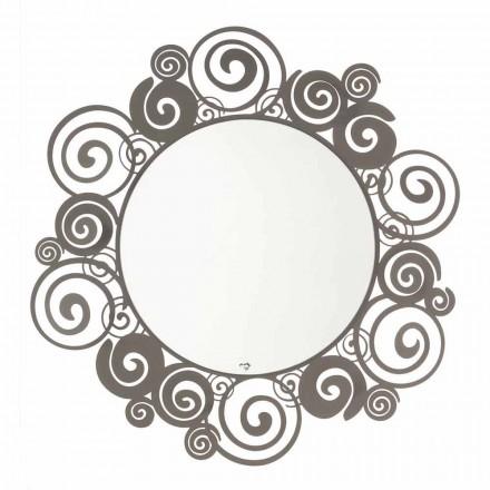 Espelho de parede circular de design moderno em ferro fabricado na Itália - Moira