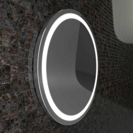 Charly LED espelho do banheiro com bordas de aço inoxidável, design moderno