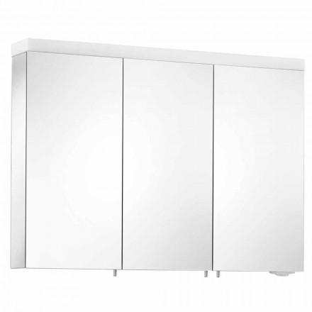 Espelho para arrumação de parede com 3 portas em alumínio pintado a prata - Alfio