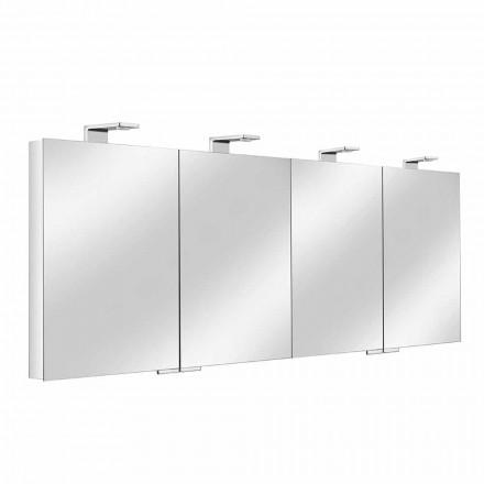 Recipiente de espelho com 4 portas de cristal com 12 prateleiras e 4 luzes LED - Maxi