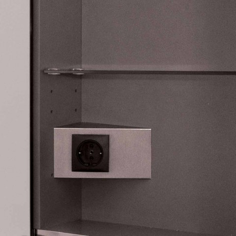 Espelho de parede com 2 portas modernas, iluminação LED, Adele