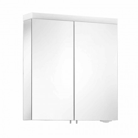 Espelho com 2 Portas em Alumínio Pintado a Prata, Alfio Moderno