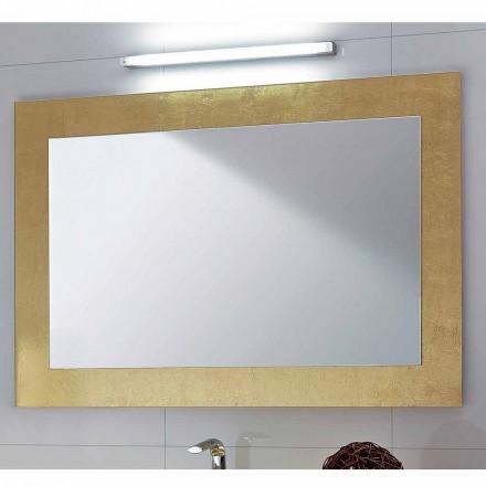 Espelho de banheiro clássico Pascal com moldura de folha de ouro