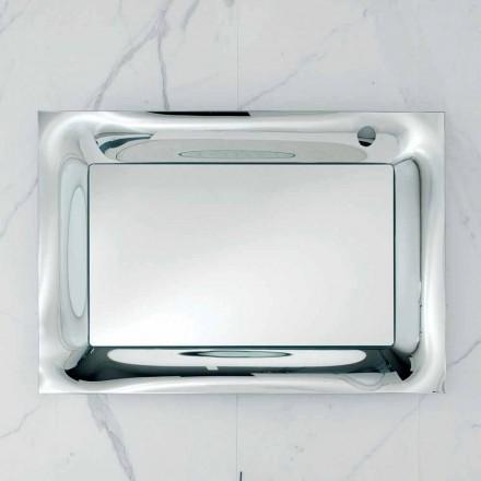 Arin espelho do banheiro com moldura de vidro prata derretida, design moderno