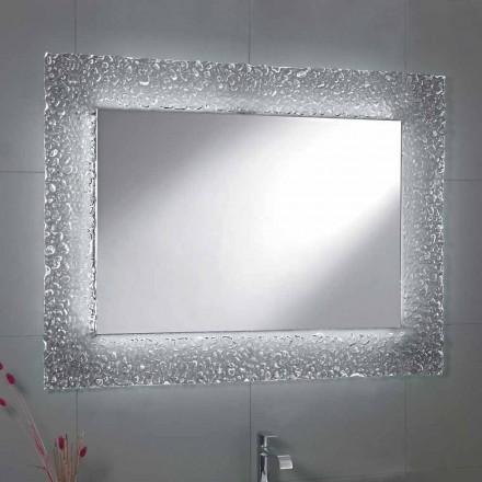 Tara espelho do banheiro com moldura de vidro e luz LED, design moderno