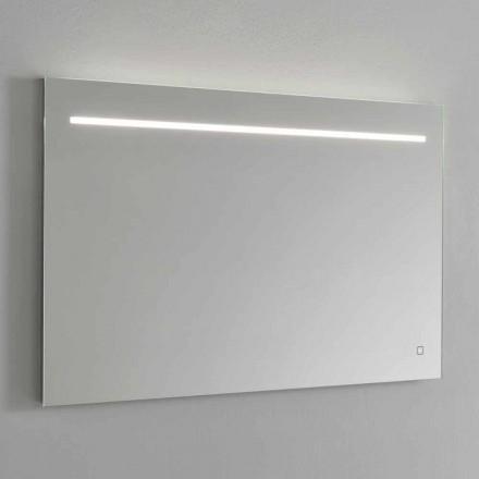 Espelho de parede moderno com luz LED e estrutura de aço feito na Itália - Yutta