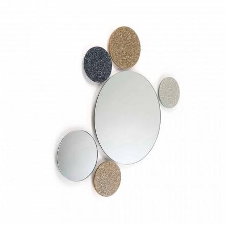 Espelho redondo Addo, feito na Itália, design moderno, glitter e vidro