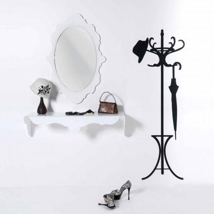 Espelho de parede branco com um design moderno Alegria, feita na Itália