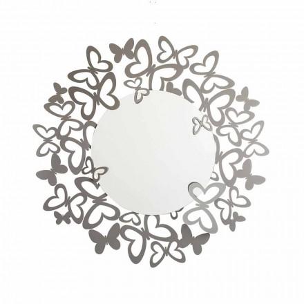 Espelho de parede circular de design moderno em ferro fabricado na Itália - Stelio