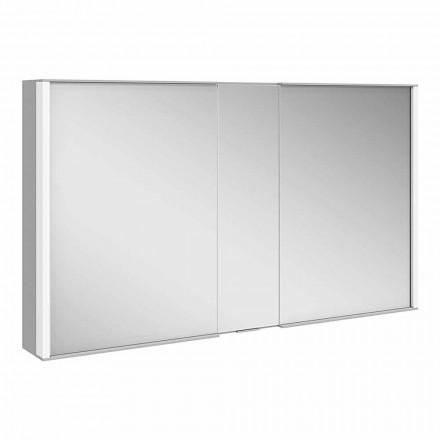 Espelho de parede moderno com 3 portas em alumínio pintado de prata - Demon