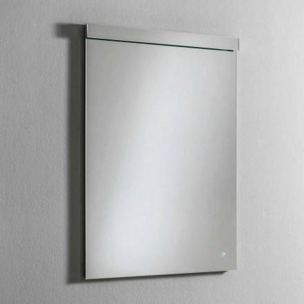 Espelho de parede com luz LED integrada em aço inoxidável Fabricado na Itália - Tuccio