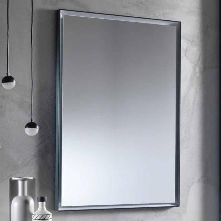 Espelho de parede com moldura de alumínio e luz LED Made in Italy - Chik