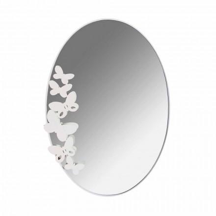 Espelho oval de parede de ferro com design moderno fabricado na Itália - Manteiga