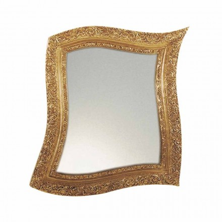 Espelho de parede estilo barroco em ferro dourado e prata fabricado na Itália - Rudi