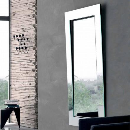 Espelho de parede retangular com moldura inclinada fabricado na Itália - Salamina