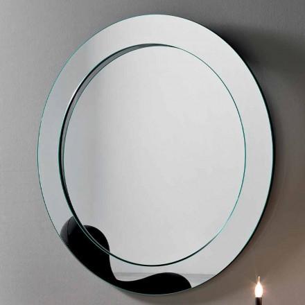 Espelho de parede redondo com moldura inclinada fabricada em Itália - Salamina